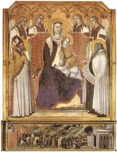 Мадонна с ангелами между Св. Николаем и пророком Елисеем. Пьетро Лоренцетти