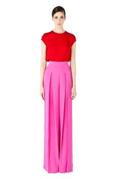 b77b99fd3a Nha Khanh spring 2012 RTW red silk cap sleeve top and pink silk wide leg  pants