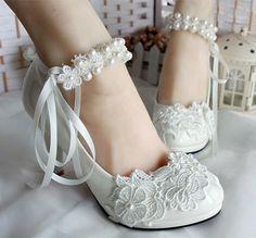 Handmade Pearl Tassel Chain Lace Flower Bowknot Women Wedding Bridal High Heel