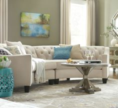 This curved sectional is superb. HomeDecorators.com #livingroom