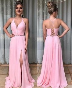Pink Chiffon Prom Dresses With Split Prom Gown on Luulla Prom Dresses With Pockets, A Line Prom Dresses, Grad Dresses, Sexy Dresses, Bridesmaid Dresses, Formal Dresses, Wedding Dresses, Prom Gowns, Dress Prom
