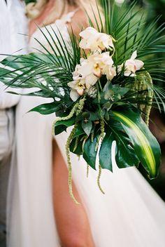 Tropical bouquet, tropical wedding, aracna palm leaves, orchids, beach wedding b. Tropical b Tropical Wedding Bouquets, Palm Wedding, Beach Wedding Centerpieces, Beach Wedding Flowers, Beach Wedding Favors, Wedding Flower Arrangements, Hawaii Wedding, Tropical Flowers, Floral Wedding