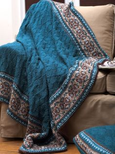 Fair Isle Border Blanket and Pillow Knitting Pattern Free.  There's no way I'm good enough to make this, but I love it!!