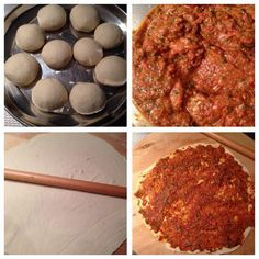 Turkse pizza (Lahmacun) | Ramadanrecepten.nl Pizza, Snacks, Baking, Ethnic Recipes, Om, Caftans, Ramadan, Tapas Food, Bread Making
