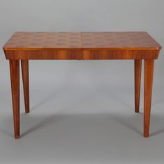 Jindrich Halabala for UP Zavody Checkerboard Table with Internal Leaf | From a unique collection of antique and modern dining room tables at https://www.1stdibs.com/furniture/tables/dining-room-tables/