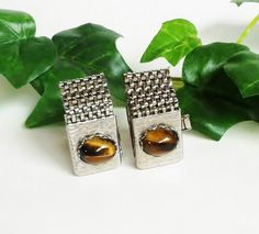 Tiger Eye Cuff Links Silver Mesh Vintage by PrettyShinyThings4U