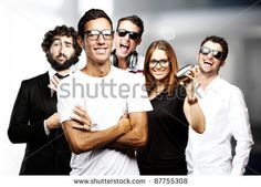 stock photo : young friends group joying and joking indoor