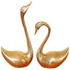 Vintage Brass Swans - A Pair ($79) ❤ liked on Polyvore featuring home, home decor, decoys, brass home accessories, vintage home accessories, brass home decor and vintage home decor