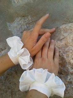 Elizabethan Wrist Ruffs (large) Pair Made to order. $30.00, via Etsy.