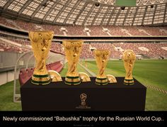 "Newly commissioned ""#Babushka"" trophy for this year's #Russian #WorldCup.."