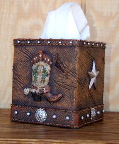 Western Boot Tissue Box Cover