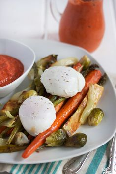 Farm Veggies with Romesco Sauce {and Poached Eggs} - Lexi's Clean Kitchen