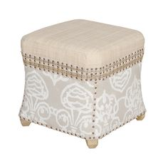 Hand-painted fabric-upholstered ottoman with nailhead trim and a woven raffia seat.   Product: OttomanConstruction ...