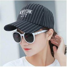 bfce8554085 Casual striped baseball cap embroidered letter New York city for teenage  girls