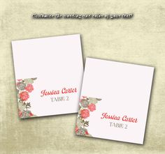 DIY Printable Wedding Name Place Cards PDF - Vintage Brown Floral Design in Coral Grapefruit (Or Your Color Choice!) (3.5X2 Folded)