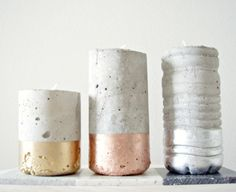 LOVE THIS IDEA ! Old plastic bottles filled with concrete turned into sculptural candle holders.