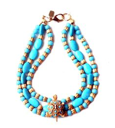 Antique Turquoise Glass and Stone, Fluted Links, Antique Studded Turtle. Turquoise Glass, Turquoise Necklace, Beaded Necklace, Flute, Art Decor, Turtle, Jewelry Design, Stone, Antiques