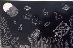 Underwater scene. Scratch art. Scratch Art, Different Media, Create Image, Underwater, Scene, Cards, Poster, Under The Water, Posters