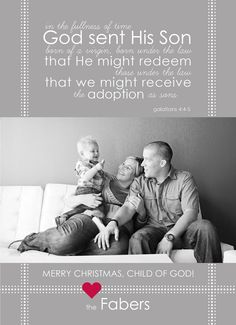 adopted CHILD OF GOD - Scripture Christmas photo card (printable). $15.00, via Etsy.