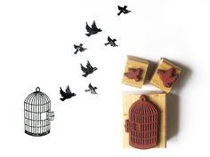 Vogel im Käfig // bird in a cage by andischu via dawanda.com