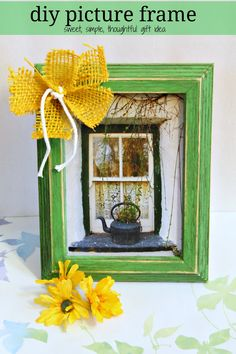 """DIY picture frame with chalk paint  - at debbie-debbiedoos.com  Buy wooden picture frame, paint with chalk paint, add """"decorations""""."""