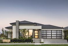 Established in Perth Based Dale Alcock Homes have built over homes. The Delano display demonstrates contemporary style, perfect for the modern family. Modern Bungalow House, Bungalow House Plans, My House Plans, Village House Design, House Front Design, Contemporary House Plans, Modern House Plans, Contemporary Style, Home Building Design