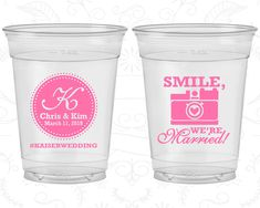 Smile We are Married, Wedding Favor Soft Sided Cups, Hashtag Wedding, Monogrammed, Camera, Clear Cups (359)