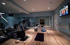 Stylish basement home gym and dance studio More