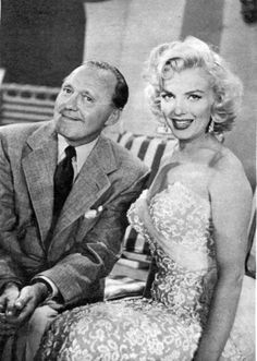 Marilyn Monroe and Jack Benny on the set of The Jack Benny Show, September 13, 1953.
