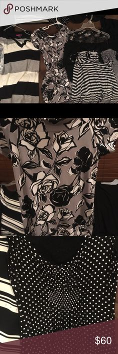 Black and white name brand blouses bundle All really nice blouses in black and white, sizes small, medium and a large. All like brand new. My job doesn't require this anymore because I agora big girl job!:) offers and trades welcome Express Tops Blouses