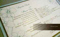 Orchid Bilingual Invitation design from I Do Concepts