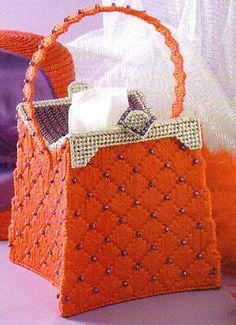 RED HAT STYLE PURSE TISSUE BOX COVER PLASTIC CANVAS PATTERN INSTRUCTIONS