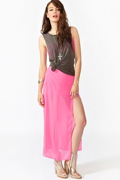 Curved Maxi Skirt in Pink