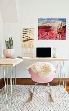chic office, desert office, desert decor, nature decor, white and pink office, desert glam office, desert girl
