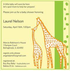 Giraffe Baby Shower Invitation 55x55 Printable by PinelliStudios