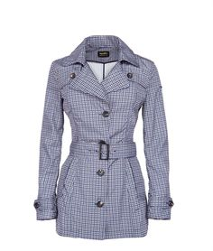 LONG SEESAW JACKET - Refrigiwear  Trench 3/4 in poliestere stampa microcheck