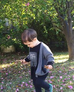 My little guy wearing his organic signature hexagon print from Manuel Montt