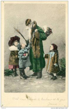PERE FOUETTARD  ENFANTS  FILLETTES **  Rare  (trous De Punaises En Coins)  * SANTACLAUS  PERE NOEL...   (voir Dos) - Enfants