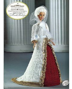 Martha Washington First Ladies of America Collection  Fashion Doll  Crochet Pattern  Annies Attic 8501.