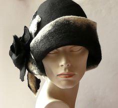 Black Felted  Hat felt hat Cloche Hat Fapper 1920 Hat Art Black Hat Cloche Victorian 1920's  Wool Women's hat by Feltpoint on Etsy