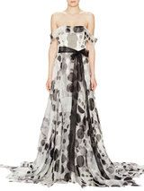 Silk Off the Shoulder Belted Gown
