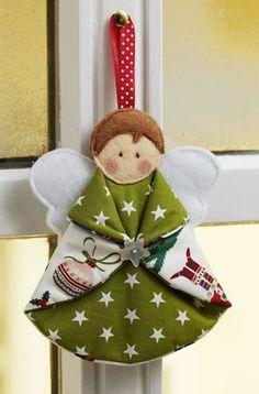 Diy Christmas Angel Ornaments, Felt Christmas Decorations, Christmas Angels, Handmade Christmas, Christmas Crafts, Tree Decorations, Rustic Christmas, Christmas Tree, Christmas Patchwork