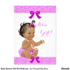 Baby Shower Girl Hot Pink Leopard Pearls Brunette 5x7 Paper Invitation Card