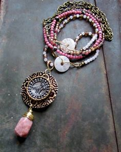 Royal Palm Paradise - Lepidolite Necklace with Antique Button, Rose Pink Gemstones, Brass, Glass, Shabby Cottage Chic, Altered by Chilirose on Etsy