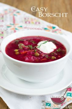 Easy Homemade Borscht Recipe - This beet soup is a traditional Ukrainian Christmas meal.