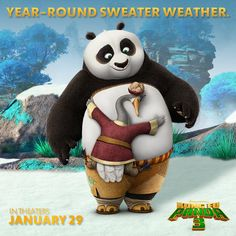 Cuddly panda fur means it's ALWAYS sweater weather for Po. Are you bundled up for January?
