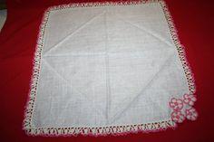 Vintage Ladies Handkerchief- Crocheted Edging & Flowers