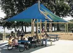 CoolToppers Full Sail by Landscape Structures is our most popular shade structure, providing shade on the playground or park. Landscape Structure, Landscape Architecture, Public Space Design, Public Spaces, Commercial Playground Equipment, Shade Landscaping, Full Sail, Playground Design, Shade Structure