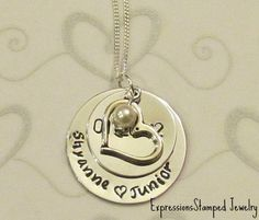 Wedding / Anniversary Date Necklace -- Hand Stamped Jewelry