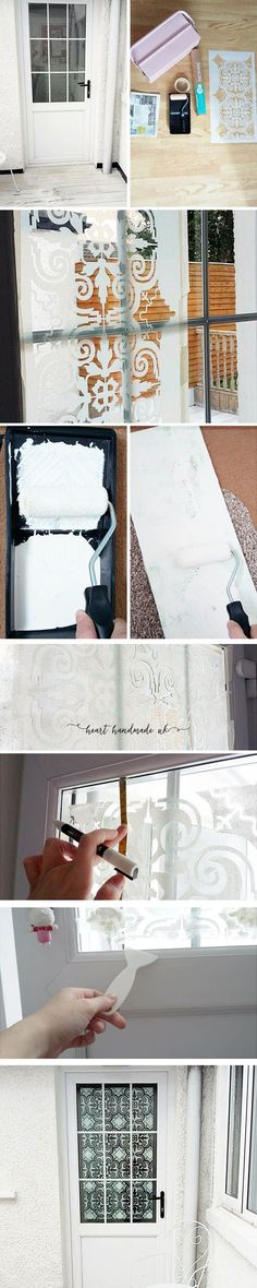 Learn how to transform a glass door with this super simple DIY Home Decor Project using a Stencil and some chalk paint! I love Rustoleum Chalk paint and large decorative stencils for walls and tiles etc. It requires a little bit of knowledge but you can find plenty of tips and advice to help you learn how to use a stencil properlly